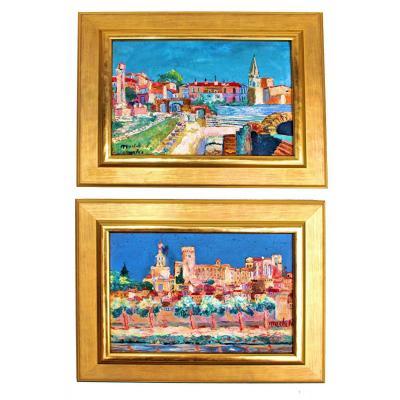 Elisée Maclet (1881-1962) Pair Of Paintings: Arles And Avignon