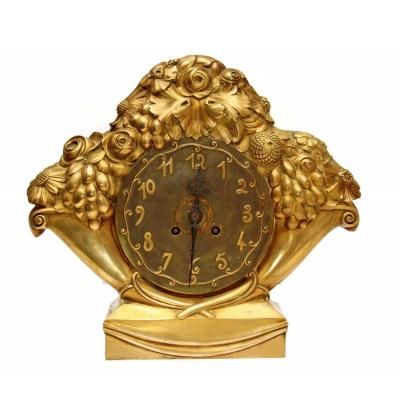 Eric Bagge (1890-1978) Rare Art Deco Gilt Bronze Clock