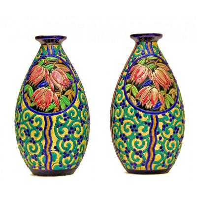Boch La Louviere Pair Of Large Art Deco Vases