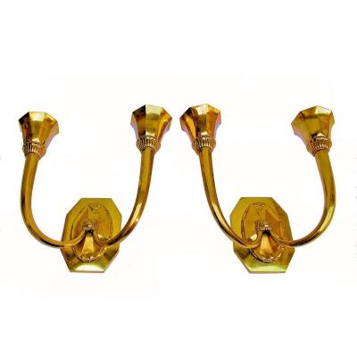 Capon Pair Of Art Deco Wall Lights In Gilt Bronze