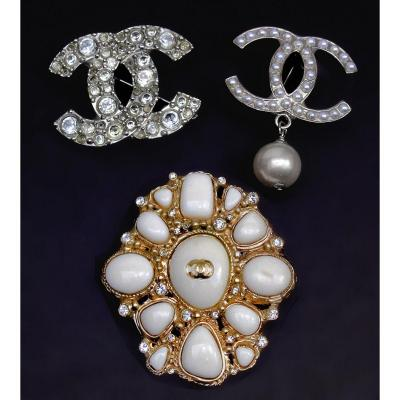 Chanel Suite Of Three Stamped Brooches