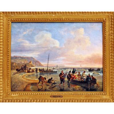 Jean-Louis Demarne (1744 -1829) Bord de Mer Animé