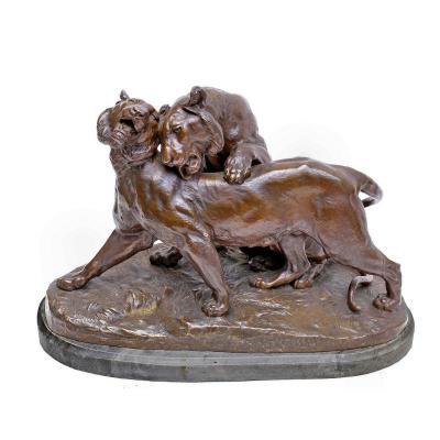 """Charles Valton (1851-1918) important Bronze animalier """"Prélude a l'Amour"""" (40 kg)"""
