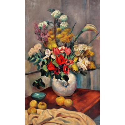 Charles Kvapil (1884-1957) Grand Tableau Art Déco -Haut 1 M 60-