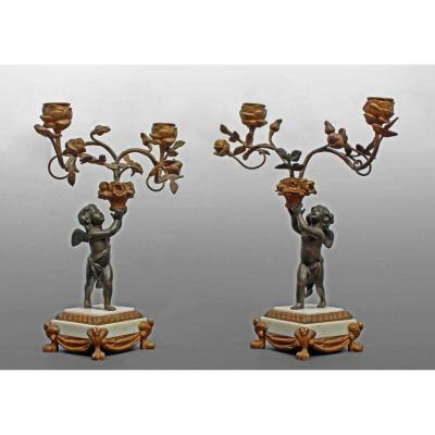 Pair Of Candlesticks In Louis XVI Bronze Decor Angels