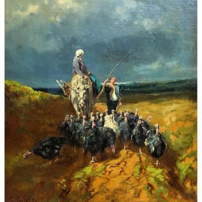 Georges Calves (1848-1923) Scène Pastorale Impressionniste