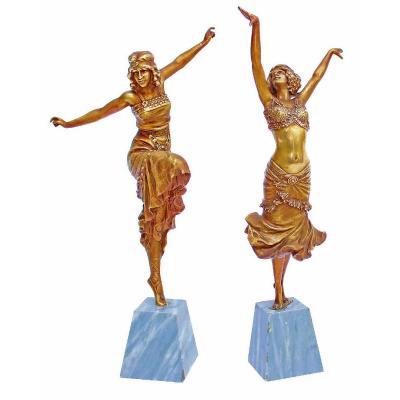 Paul Philippe (1870-1930) Rare Paire De Bronzes Art Déco Danseuses Russe Et Radha