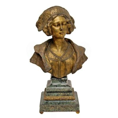 Gory (1895-1925) Grand Buste Art Déco En Bronze