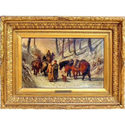 Frans Van Leemputten (1850-1914) Halte Dans La Neige