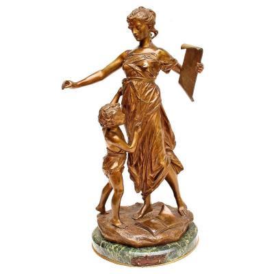 "E. DROUOT (1859-1945) Grand Bronze 80 cm ""Mentem Luminat"""