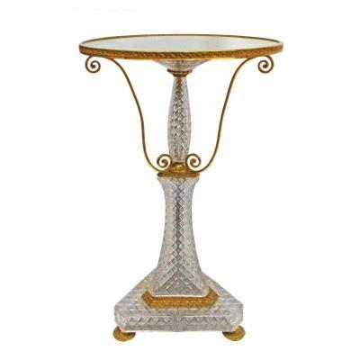 Guéridon En Cristal De Baccarat Et Bronze Doré