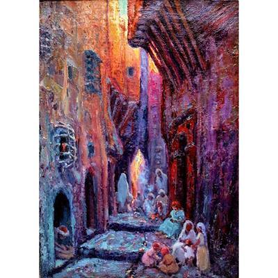 Primitif Bono (1880-1955) Alger Casbah Rue Du Lion