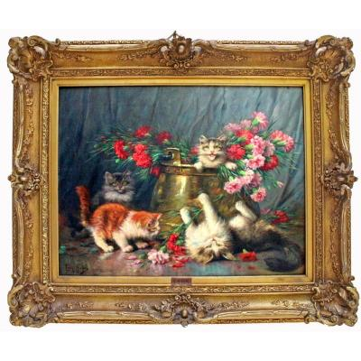 Léon Huber (1858-1928) Large Painting With Cats