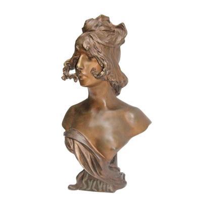 Anton Nelson (1849 1910) Large Art Nouveau Bust