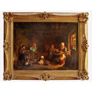 """Paul Soyer (1823-1903) Tres Grand Tableau """"Les Dentelieres d'Asnieres-sur-Oise"""""""