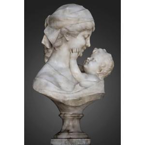 "Guglielmo Pugi (1850-1915) Marbre Grandeur Nature ""Maternité"""