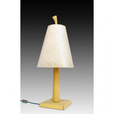 Hugues Chevalier Large Lamp Leather Trimmed Art Deco