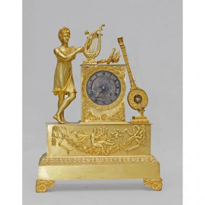 Pendule Empire En Bronze Apollon à La Lyre