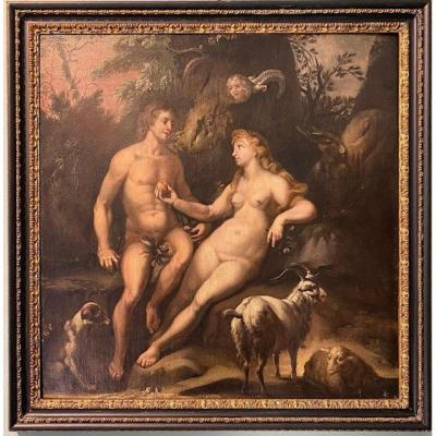 Oil Painting On Canvas Representing Adam And Eve