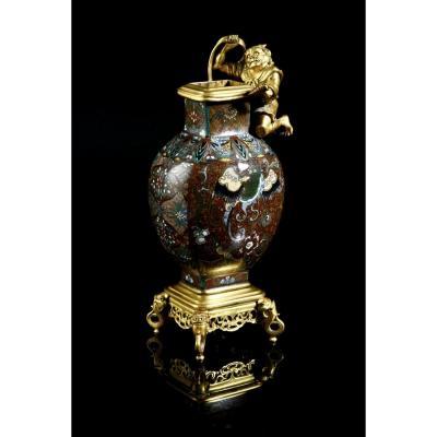 Vase En Email Closonne' Du Japan E Bronze Cisele ' Et Dore '