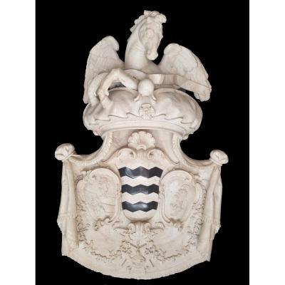Grande Héraldique En Marbre Sculpté