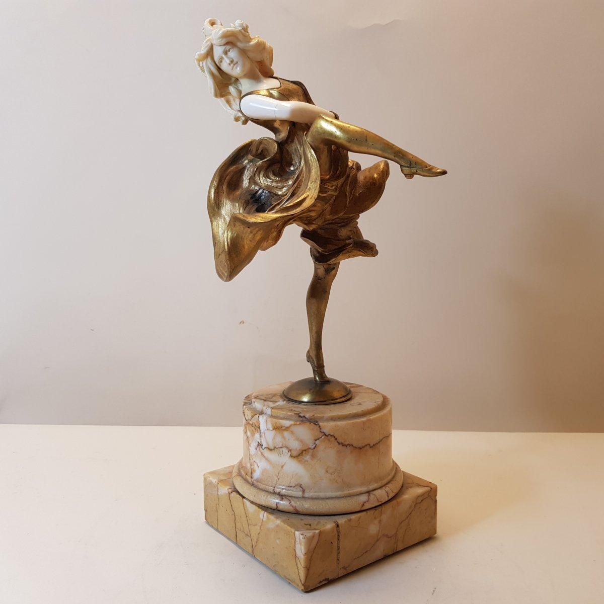 C. Kiemlen: Bronze And Ivory Sculpture