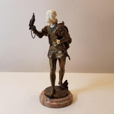 Bouret Chryselephantine Sculpture In Bronze And Ivory
