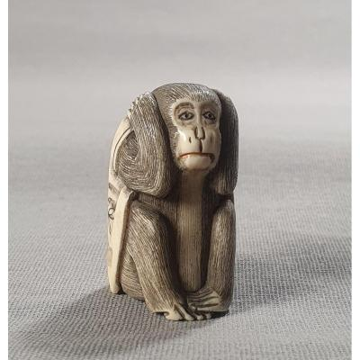 Netsuke Ivory Monkey Art 1165-3