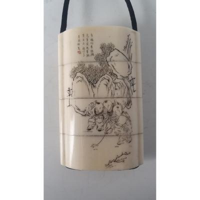 Inro - Ivoire D'éléphant - Japon - Période Meiji (1868-1912) Art 1131