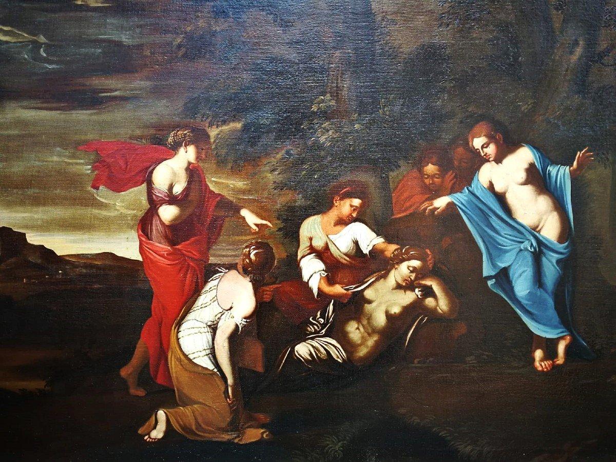 Fascinante Huile Sur Toile Italiennè Du XVIIe Siècle Représentant Une Scène Mythologique-photo-4