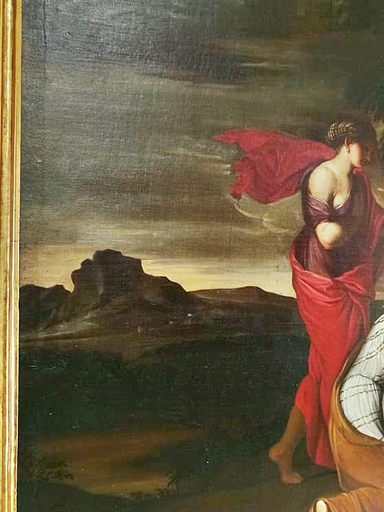 Fascinante Huile Sur Toile Italiennè Du XVIIe Siècle Représentant Une Scène Mythologique-photo-1