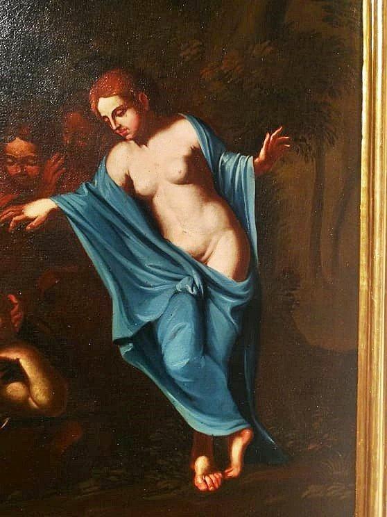 Fascinante Huile Sur Toile Italiennè Du XVIIe Siècle Représentant Une Scène Mythologique-photo-3