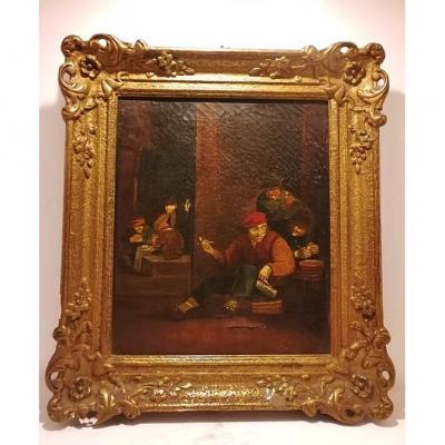 Scène intérieure d'une taverne, école Hollandaise du XVIIIe siècle