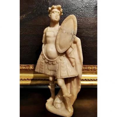 Sculpture Italienne En Marbre Blanc d'Un Empereur Romain, époque Du Grand Tour, Premier XIX