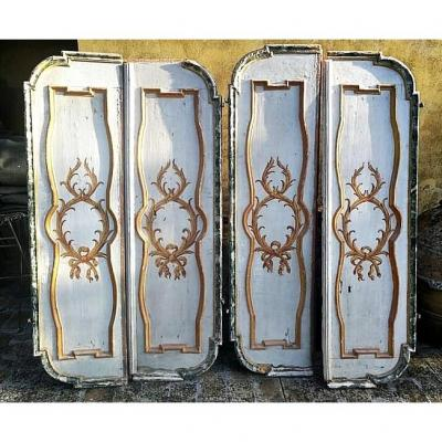 Rare Pair Of Late 17th C. Italian Doors/panels With Original Lacquers And Gilded Decorations