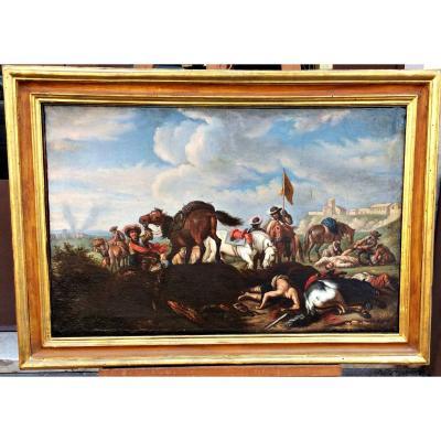 """""""Après la bataille"""", cercle de Christian Reder (Leipzig 1656 - Rome 1729)"""
