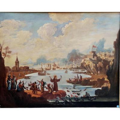 San Francesco rencontre le sultan dans un paysage marin suggestif, 17e Siècle Huile sur toile