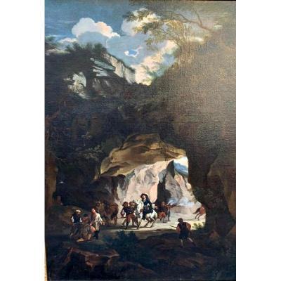 Paysage Rocheux Avec Embuscades De Brigands. Huile sur toile 99cm X 137cm, XVII siècle