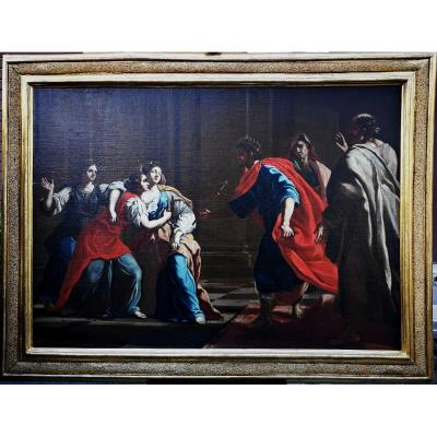 Oil On Canvas Depicting A Scene From The Book Of Esther,francesco Cozza(1605-1682) Or Entourage