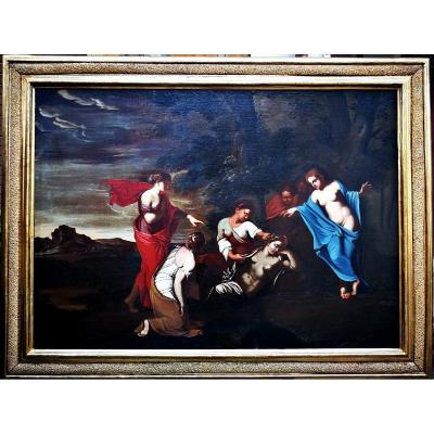 Fascinante Huile Sur Toile Italiennè Du XVIIe Siècle Représentant Une Scène Mythologique