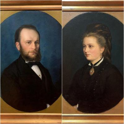 Paire De Portraits Avec Gentilhomme Et Dame, Signés Et Datés.