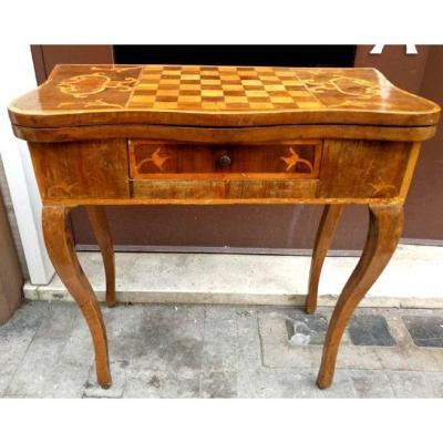 Table à Jeux Louis XV Marquetée De Divers Bois Précieux