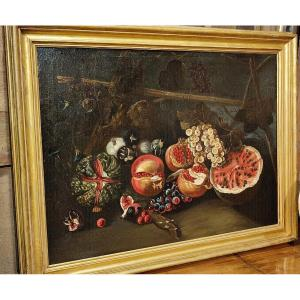 Splendid Still Life Of Fruits And Flowers From The Roman Field, Last Quarter Of The 17th Century