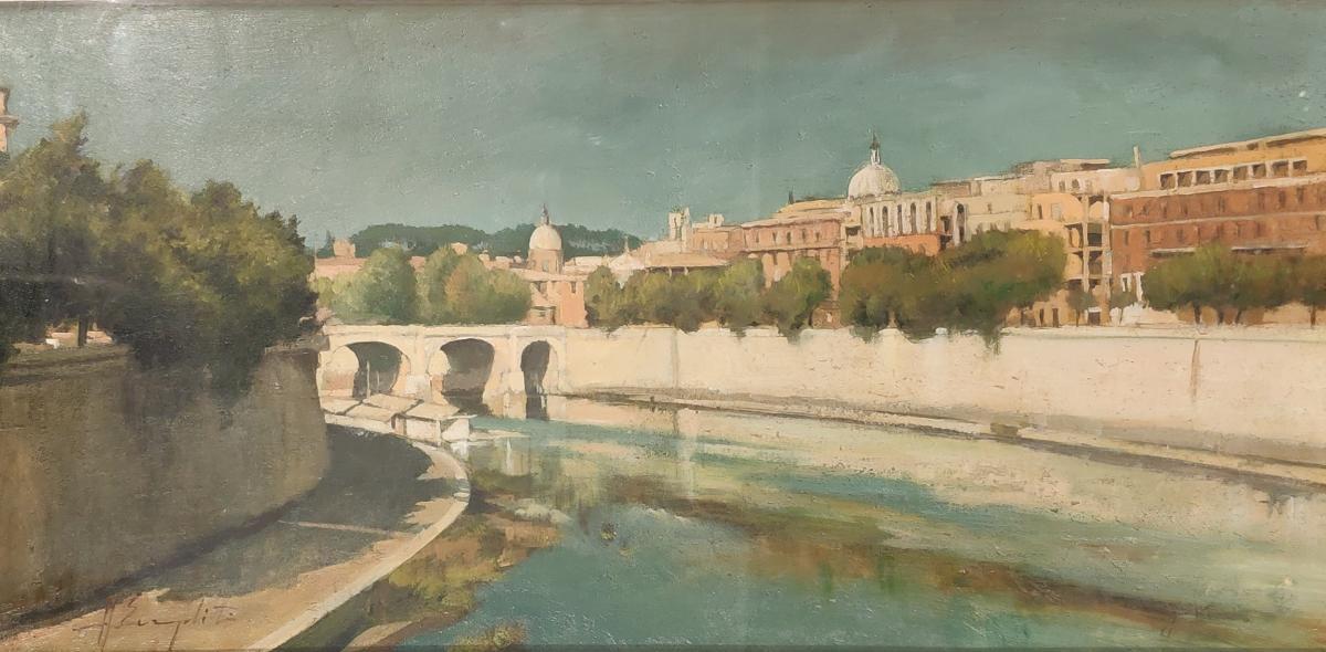 """Tableau,"""" Lungotevere"""", Huile Sur Panneau, Italie 1930"""