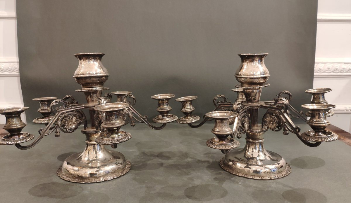 Pair Of Silver Table Candlesticks. Austria XIXth Century