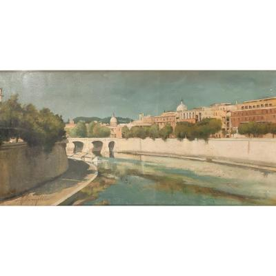 View Of Rome From The Tiber, XXth Century
