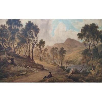 Tableau Paysage , Aquarelle, par Joshua Wallis , XIX  Siécle