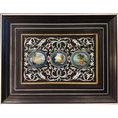 Three Micromosaics Framed, Rome Italy 1840