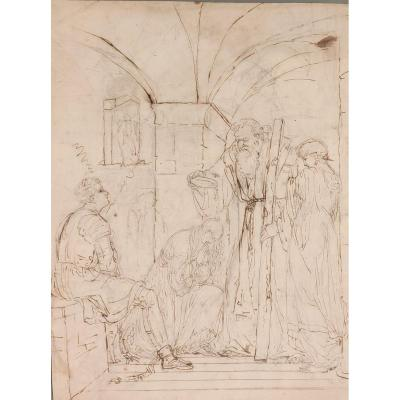 Baptism In Prison, Drawing Italy XIXth Century