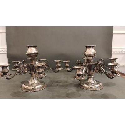 Pair Of Silver Table Candlesticks. Austria XIXth Century